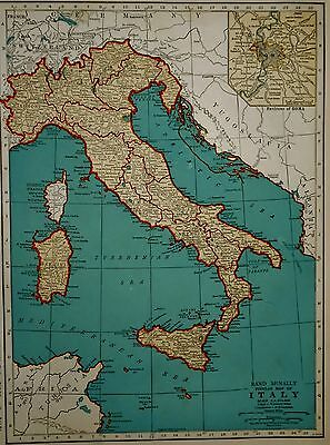 Vintage 1941 Atlas Map World War WWII Italy & Switzerland OLD Europe with Rome