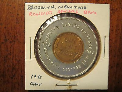 Vintage Encased Coin Good Luck Penny 1945 ROOSEVELT SAVINGS BANK Brooklyn, NY