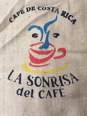 Burlap Coffee Bag Gunny Sack Costa Rica Red Yellow Turquoise Crafts Sewing
