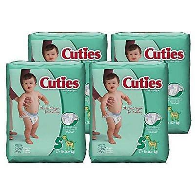 Cuties Baby Diapers, Size 5, 27-Count, Pack of 4 New