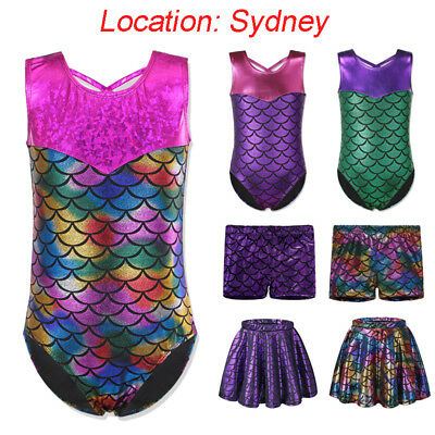 AU One-Piece Girl Mermaid Gymnastics Leotard Ballet Dance Sparkle Costume 3-12Y
