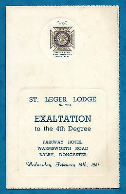 1961 Buffaloes Programme For Exaltation Ceremony St. Leger Lodge No. 2814