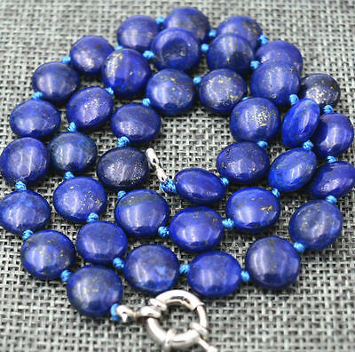 "Long 18"" - 36"" 12mm Natural Blue Egyptian Lapis Lazuli Coin Beads Necklace AAA"