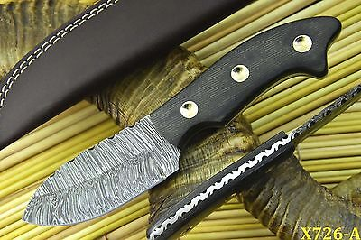 Custom Damascus Hunting Knife Handmade With G-10 Micarta Handle (X726-A)
