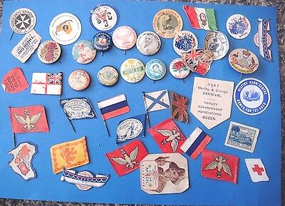 Ww1 Era Charity Paper Flag Day & Celluloid Fundraising Pin Badge Lot