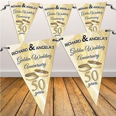Personalised 65th Sapphire Wedding Anniversary Flag Banner Bunting N56 10 Flags