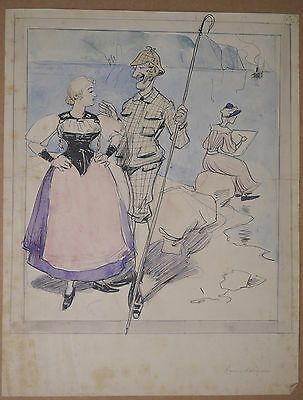 Dessin Illustration Originale Aquarelle MAURICE RADIGUET Couple Peintre 1900