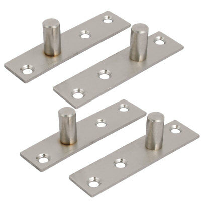 97mm Length Stainless Steel Hidden Door Pivot Hinges Silver Tone 4pcs
