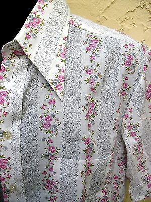 VINTAGE 70s NWOT UNUSED COTTON BLEND SHORT SLEEVE ROSE PRINT SHIRT M  EXC!
