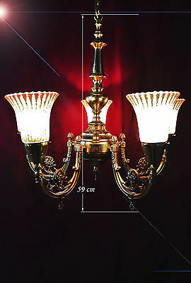 all original 1950s French brass five - arm cup gallery colonial style chandelier