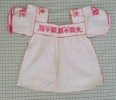 Sweet Vtg Girls Dress/ Blouse~ Cross Stitched Details & Open Work~ Stitch Flaw