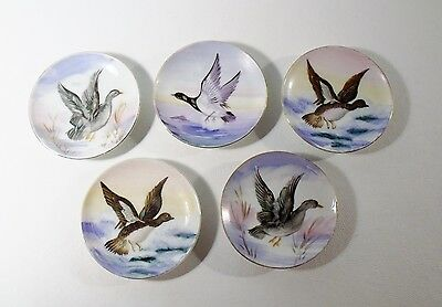 """Ucagco Japan SET OF 5 HAND PAINTED DUCK 4"""" BUTTER PATS Excellent"""