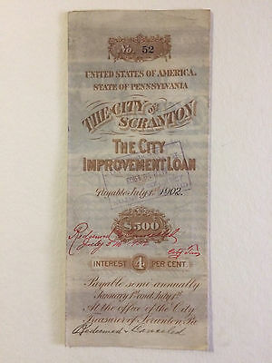 1886 $500 Scranton PA Improvement Loan Bond