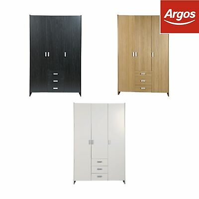 HOME New Capella 3 Door 3 Drawer Wardrobe - Choice of Colour. From Argos on ebay