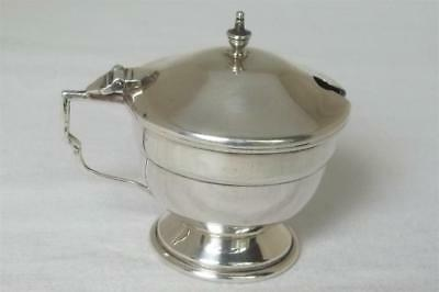 A Superb Solid Sterling Silver Footed Mustard Pot With Glass Liner Dates 1946.