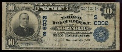 ICOIN - 1902 Norfolk Virginia $10 Large Size National Banknote Ch#6032 FINE