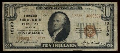 ICOIN 1929 Pontiac Michigan T-2 Brown Seal $10 National Note Ch#13739 VG+