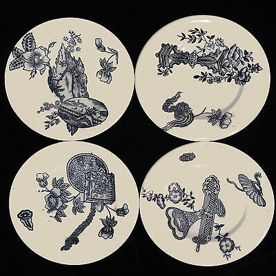 Set of 4 Childs Flow Blue Black Quirky Transferware Plates 1880 NIMY Whimsies