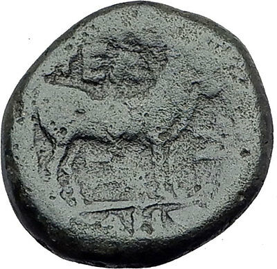 PELLA in MACEDONIA 148BC RARE R1 Authentic Ancient Greek Coin ZEUS & BULL i62822