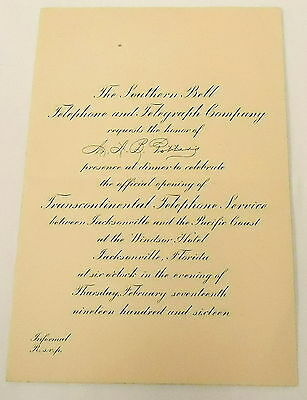 1916 invitation ~ SOUTHERN BELL Opening Of Transcontinental Telephone Service