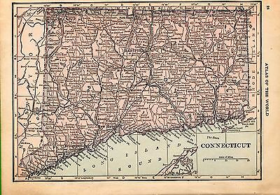 100 Year-Old Antique Atlas Map 1917 of  Connecticut & Rhode Island