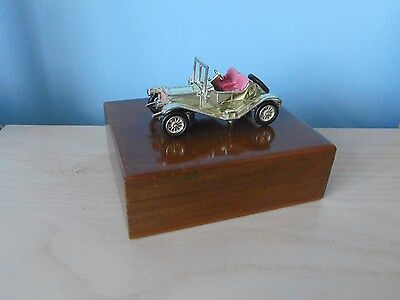 Vintage Wooden Cigarette box with Lesney Model 1911 maxwell roadster model car