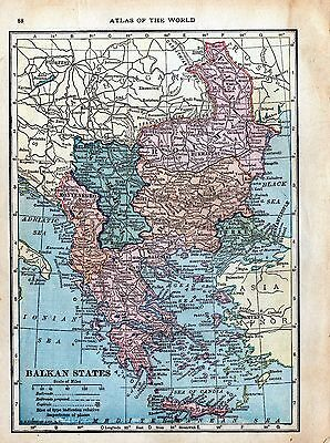 100 Year-Old Antique Atlas Map 1917 - Balkan States, Russia in Europe & Caucasia