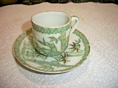 Antique Green Bamboo Japanese Childs Cup and Saucer