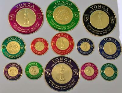 """Tonga """"The Friendly Islands"""" 1963 Gold Foil Coin/Stamp 13 Piece Set"""