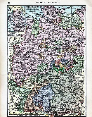 Pre-WWI 100 Year-Old Antique Map 1917 of Germany West.Sec.& the British Isles