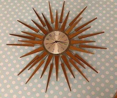 Seth Thomas Starburst Sunburst Clock Large Vintage