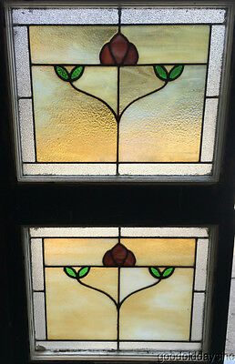 2 Antique Chicago Bungalow Style Stained Leaded Hammered Glass Window Craftsman