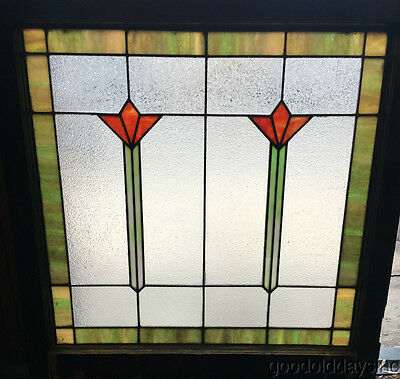 """1 of 3 Antique Stained Leaded Privacy Glass Window 32"""" by 32"""""""