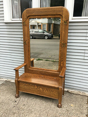 Large Antique Oak Hall Tree Mirror Stand With Bench Circa 1910
