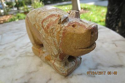 Stone Carved Vintage Pig Unusual One Of A Kind