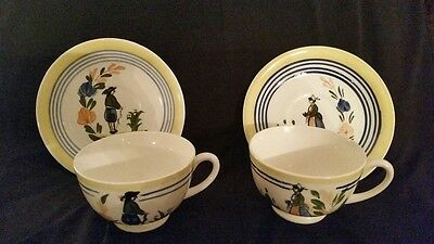 Pair Blue Ridge Lyonnaise Tea Cup Saucers Man Women Southern Potteries
