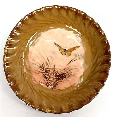 """ROOKWOOD 6 1/2"""" SCENIC WITH BUTTERFLY #37 6  ROUND PLATE OR TRAY c1884"""