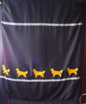 Golden Retriever Dog Black Shower Curtain w/ Goldens and striped ribbons SALE