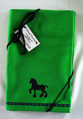 Draft Horse Belgian Shire Window Valance Green denim w/ black design Sample sale