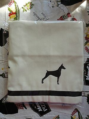 Doberman Pinscher Dog Window Valance natural denim w/ black dogs  sale