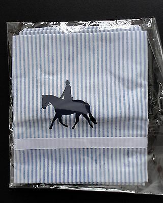 Hunt Horse Window Valance Blue tick cotton stripe with navy design...sample sale