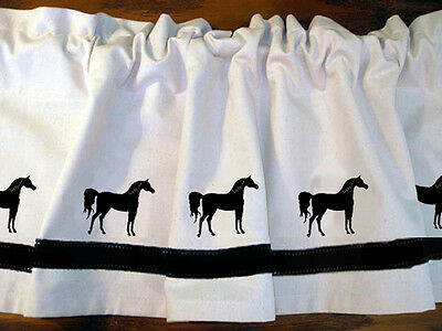 Arabian Horse Window Valance Natural denim with black design  sample sale