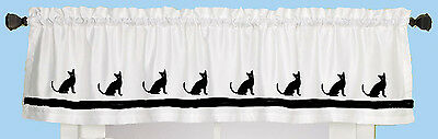 Abyssinian Window Valance White cotton w/ black cats and ribbon