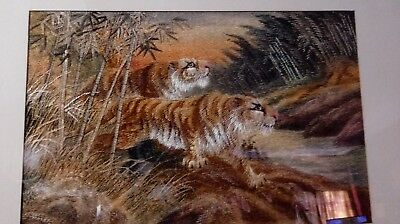 Antique Japanese Embroidered Silk Hanging Tigers Meiji Period Signed