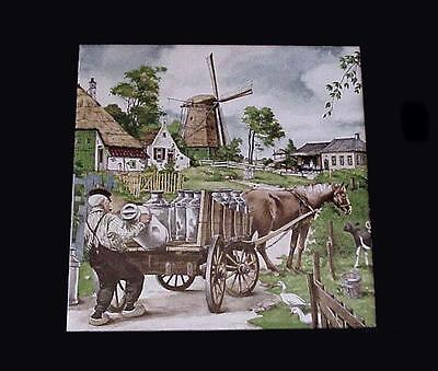 "Royal Mosa Holland Dairy Farmer & Milk Cart Hand Decorated 6"" Tile Ter Steege Bv"