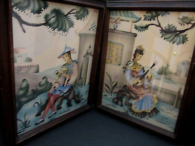 2 Vintage Authentic Asian Coloriginal by Stan David Studios. Wood Frames. 16x21""