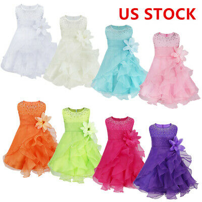 Baby Kids Flower Girl Wedding Bridesmaid Formal Birthday Party Prom Tutu  Dress