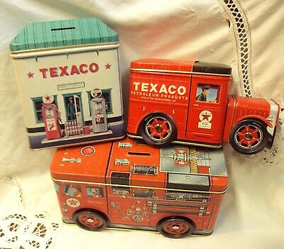 Lot/3 TEXACO Collector's TIN COIN BANKS ~ Rudy's Service / Fire Engine / Truck