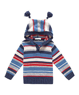 EUC JOJO MAMAN BEBE sz 2-3 BOYS Wool Blend Sweater Hoodie