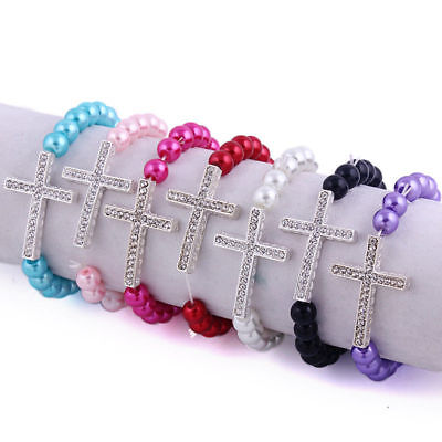 1PC Imitaion Pearl Beaded Bracelet With Silver Tone Rhinestone Cross Charm